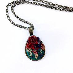 Polymer Clay Floral Pendant NecklaceHandmadeGift