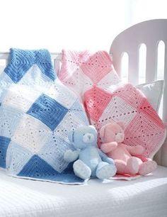 Double Diamond Baby Blanket | AllFreeCrochet.com