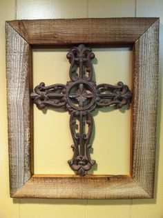 Wood Encased Brown Iron Cross by TreyColeCreations on Etsy, $30.00