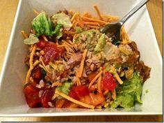 Burrito salad with Sabra Guacamole and Mango Peach Salsa [Hungry Hungry Hippie]
