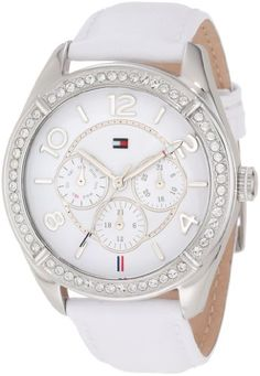 Tommy Hilfiger 1781249 Stainless Steel Case White Leather Womens Watch