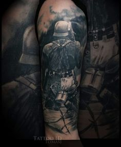 #tattoo #black and grey #realistic tattoo #war tattoo #ww2 tattoo Army Tattoos, Military Tattoos, Top Tattoos, Badass Tattoos, Forearm Tattoos, Body Art Tattoos, Tattoos For Guys, Awesome Tattoos, Tattoo Art