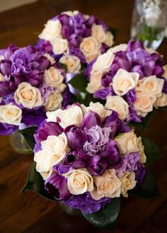 Purple and ivory flowers