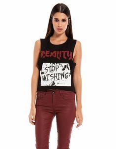 Bershka Portugal - T-shirt curta Bershka mensagem