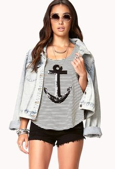 Nautical Sequined Anchor Top | FOREVER21 Ahoy, matie! #Anchor #Stripes #BlackAndWhite