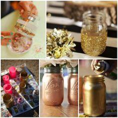 Mason jar decorations for a wedding elegant diy gold mason jars. Sparkly Mason Jars, Glitter Mason Jars, Mason Jar Crafts, Diy Jars, Diy And Crafts Sewing, Crafts To Sell, Diy Crafts, Gold Diy, Diy Home Decor Rustic