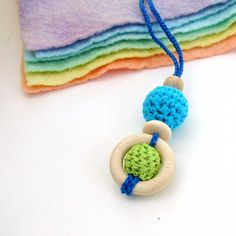 Crochet teething necklace for baby and mom ring by LaFiabaRussa, €8.00