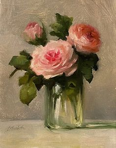 Modern traditional art with a Romantic Flair by Carolina Elizabeth Studios Paintings in Oil watercolor gouache and drawings. Oil Painting Flowers, Modern Oil Painting, Roses Painting Acrylic, Art Oil Paintings, Acrylic Flowers, Rose Art, Flower Art, Watercolor Art, Art Drawings
