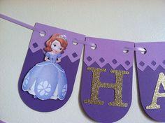 Banner de cumpleaños de Sofia la primera, fiesta de sofia la primera, Sofía el primer banner, banner princesa, princesa guirnalda