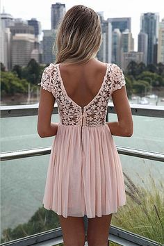 Pink Short Sleeve Hollow Floral Crochet Pleated Dress