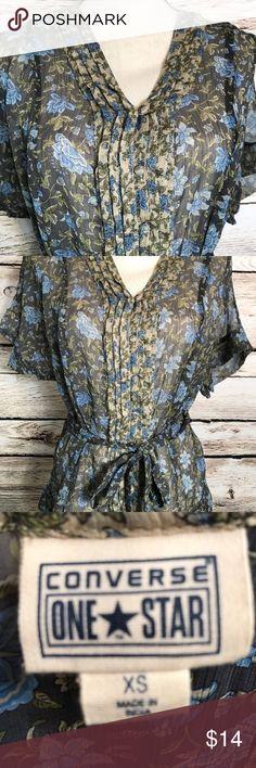 Converse One Star Women's Sheer Shirt Size XS Sheer Button Down Shirt - Brown Blue Floral Converse One Star Tops Button Down Shirts