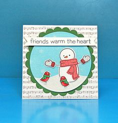 Lawn Fawn - Making Frosty Friends + coordinating dies, Snow Day 6x6 paper, Stitched Hillside Borders, Circle and Scalloped Circle Stackables _ paper-pieced card by Lynnette