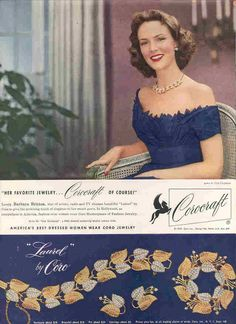 "1953 Corocraft #rhinestone #costume #jewelry ""Laurel"" #vintage ad Her gown is by Ceil Chapman"