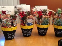 """Great idea! """"Thank you for helping us grow"""" and then fill with flower/plant-related items."""