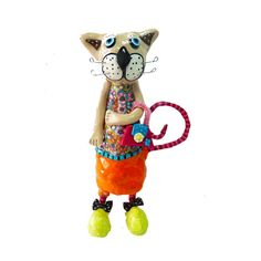 Cat sculpture, whimsical cat , cat sculpture , collectible cat , cat lover ,Cat art , home design ,gift ideas ,multicolor