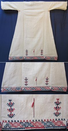 Rear of a 'göynek' (underdress for women) with (cotton on cotton) embroidered underside. Textiles, Turkish Fashion, Folk Embroidery, Costume Collection, Under Dress, 17th Century, Kurtis, Traditional Outfits, Handicraft