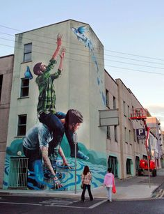 """by Fintan Magee - New mural: """"The Fisherman"""" - For Draw Out Festival - Limerick, Ireland - 09.07.2014"""