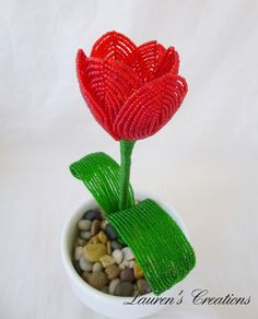 French Beaded Flower - Red Tulip - Floral Arrangement, Potted Plant. $30.00, via Etsy.