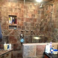 Custom walk in shower -no door - Snyder Residence ; Installed by Harrisburg  Flooring