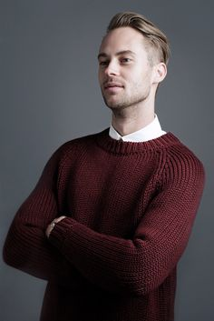 Jolyon wears the Stevie Sweater | Boys Will Be Boys | woolandthegang.com