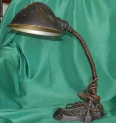 Antique 1922 Robert Schwartz Art Deco Cast Iron Goose Neck Lamp Esrobert Shade #ArtDeco $50.00 OBO + $12.50 Shipping
