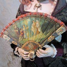 Magnificent Vernis Martin Brise Miniature Antique Fan