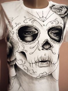 Items similar to Dia de los muertos on Etsy Painted Clothes, Day Of The Dead, Skull, Hand Painted, Etsy, Textile, Halloween, My Love, Painting