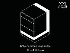 XXL   Saat jopa 40 % enemmän tilaa Kvik-kaapeilla