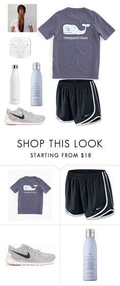 """""""A little workout never hurt..."""" by jordan-clough ❤ liked on Polyvore featuring Vineyard Vines, NIKE, Drybar and S'well"""