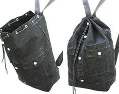 black denim backpack repurposed jean jacket big bucket drawstring bag vintage 90s grunge hipster backpack upcycled recycled laptop sleeve