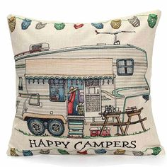 Our fun and inexpensive Happy Camper throw pillows are great accessories for your RV, camper, bedroom, or living room. Take advantage of our limited time Free Shipping. - Material and Size: Non-toxic