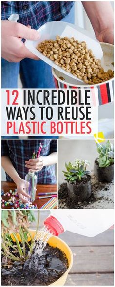 12 Incredible Ways to Reuse Plastic Water Bottles - upcycle your empty plastic water bottles with these DIY ideas! From garden planters to pet tools, here are the easiest ways to repurpose empty plastic bottles. Reuse Plastic Containers, Empty Plastic Bottles, Recycled Bottles, Recycled Art, Plastic Container Crafts, Reuse Bottles, Water Bottle Crafts, Plastic Bottle Crafts, Water Bottle Recycling