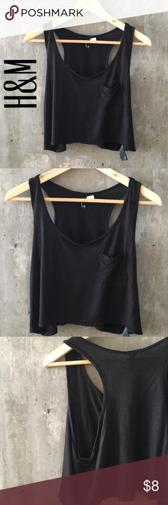 Black crop top Loose fitting crop top. Size 6, will fit small. Sides are very open, see pictures. Gently used, in great condition, no flaws. Price negotiable H&M Tops Crop Tops