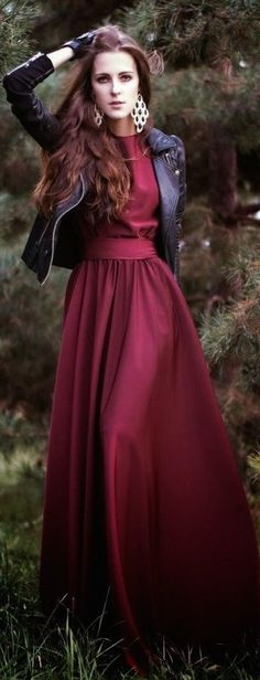 96077e876ff burgundy color Love everything about this look! Gorgeous burgundy long maxi  dress paired with a leather jacket.