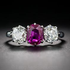 8d95638988576 1.50 Carat Natural No-Heat Burma Ruby and Diamond Ring. A simply stunning  Edwardian