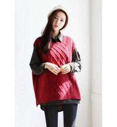 Baggy Knit Pattern Vest