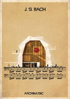 "ARCHIMUSIC: Illustrations Turn Music Into Architecture - ederico Babina / J. S. Bach, ""Suite pour violoncelle N°1″"