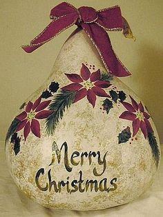 Merry Christmas Poinsettia Gourd