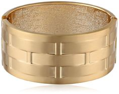 Gold-Tone Woven Pattern Metal Cuff Bracelet, Gold-tone cuff bracelet featuring textured pattern and hinged closure. Metal Bracelets, Statement Bracelets, Bracelet Making, Fashion Accessories, Jewels, Pattern, Gold, Closure, Curvy