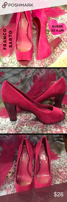FRANCO SARTO 💕 Magenta Suede Peep Toe Pumps Heels Gorgeous Franco Sarto genuine suede leather heels - size 6.5M. Gorgeous magenta color with a plum colored heel. Excellent condition with some minor signs of wear. You can see in the photos there are a few minor marks to the suede. Franco Sarto Shoes Heels