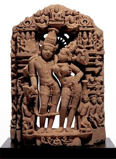 Sculpture of God Vishnu and his Consort Goddess Laksmi - India 10th-11th Century AD