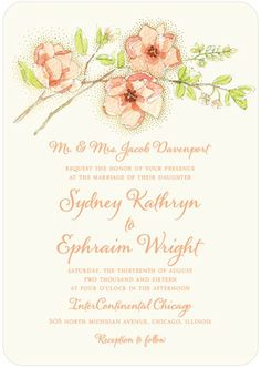 Wedding Paper Divas -- Moonlit Blossoms - Signature White Wedding Invitations - East Six Design - Navy - Blue : Front