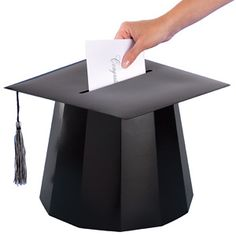 This Graduation Gift Card Holder is an awesome idea to place on a gift table for holding graduation cards. Cleverly shaped into a festive mortarboard with tassel. Generous opening on top for cards.