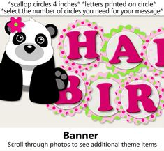 Pink Girl Panda Birthday Party or Panda Baby Shower