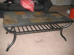 Iron Tile Top Table On Pinterest Slate Tiles Slate And End Tables