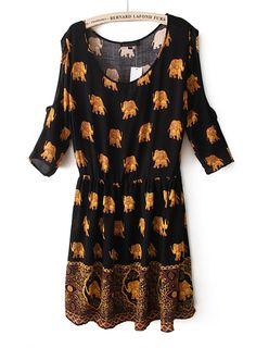Black Off the Shoulder Elephant Print Pleated Dress