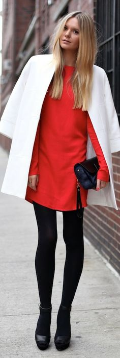 Red, White and Black. Perfect look. (Jessica Stein)