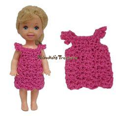 Simple Dress 10 ~ Pretty in Pink Free Crochet Pattern for Children Fashion Dolls by Rebeckah's Treasures
