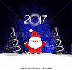Merry Christmas and happy new year 2017 Background with santa claus