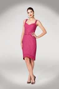 I'm not a fan of the high-low hemline, but THIS I love!   Maggy London's Eyelet Sheath Dress